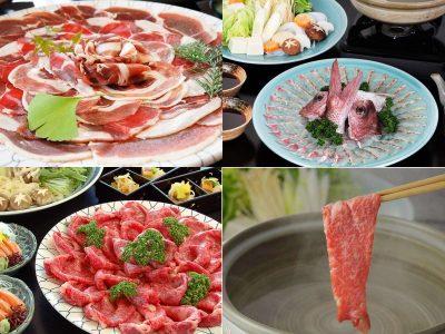 冬の定番 ぼたん鍋のほか、鯛しゃぶ・牛しゃぶ・すき焼きもチョイスOK!どれにしようか迷います・・・