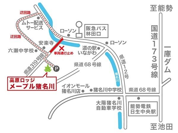 迂回路の地図